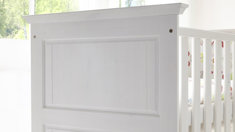 ODETTE Gitterbett Babyzimmermöbel in Kiefer massiv weiß | {Babyzimmermöbel 39}