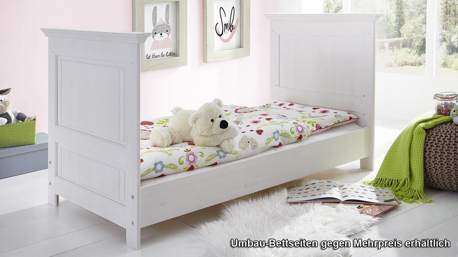 babybett odette gitterbett babyzimmerm bel in kiefer massiv wei. Black Bedroom Furniture Sets. Home Design Ideas