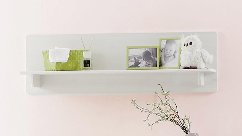 Wandregal ODETTE Regal in Kiefer massiv weiß Babyzimmer