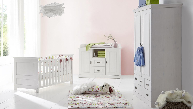 Babyzimmer set weiß  Babyzimmer ODETTE Set weiß Kiefer massiv mit Bett Schrank WiKo