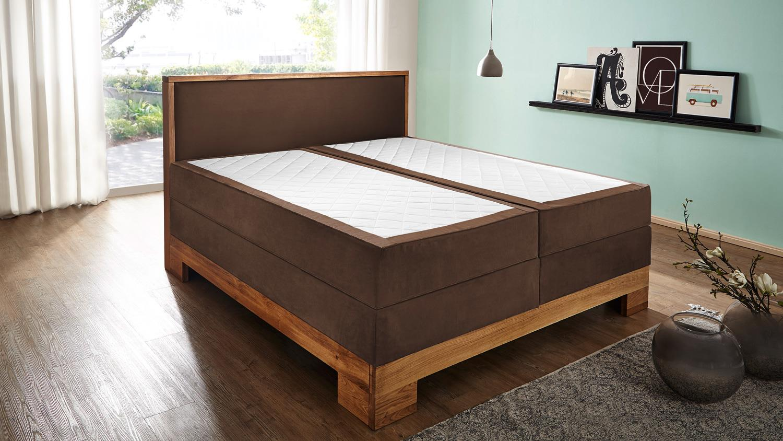 boxspringbett 180x200 massivholz wildeiche doppelbett guana braun 7 zonen tfk. Black Bedroom Furniture Sets. Home Design Ideas