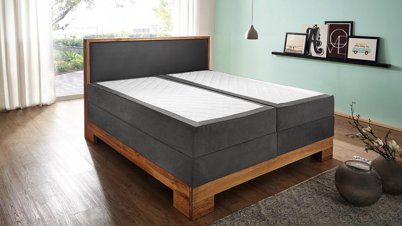 boxspringbett guana bett in grau wildeiche massiv 7 zonen tfk 180x200. Black Bedroom Furniture Sets. Home Design Ideas