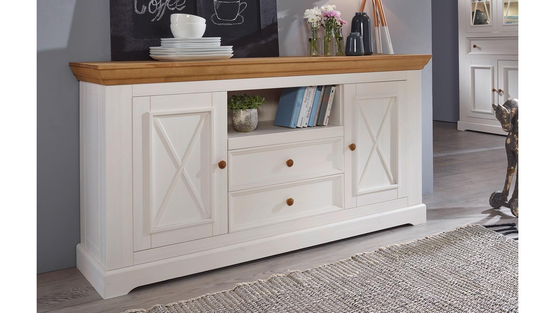 sideboard 2 glora kommode kiefer massiv wei gewachst. Black Bedroom Furniture Sets. Home Design Ideas