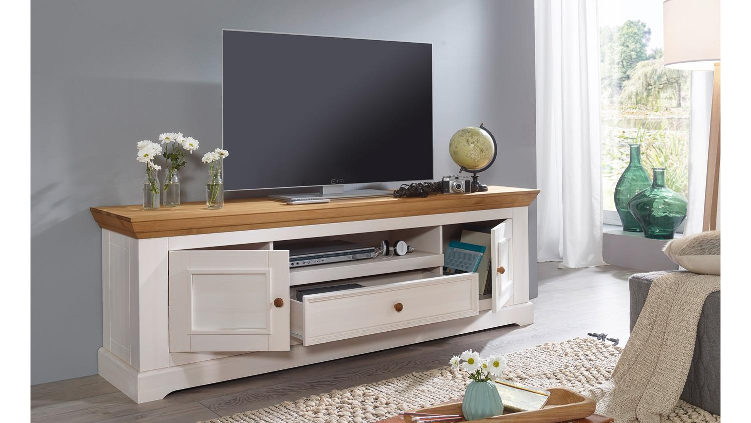 lowboard 1 glora tv board kiefer massiv wei gewachst eiche landhaus. Black Bedroom Furniture Sets. Home Design Ideas