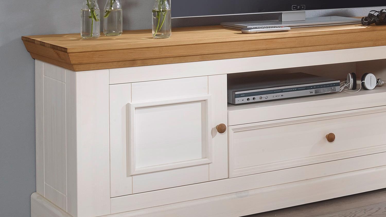 lowboard 1 glora tv board kiefer massiv wei gewachst eiche landhaus. Black Bedroom Furniture Sets. Home Design Ideas