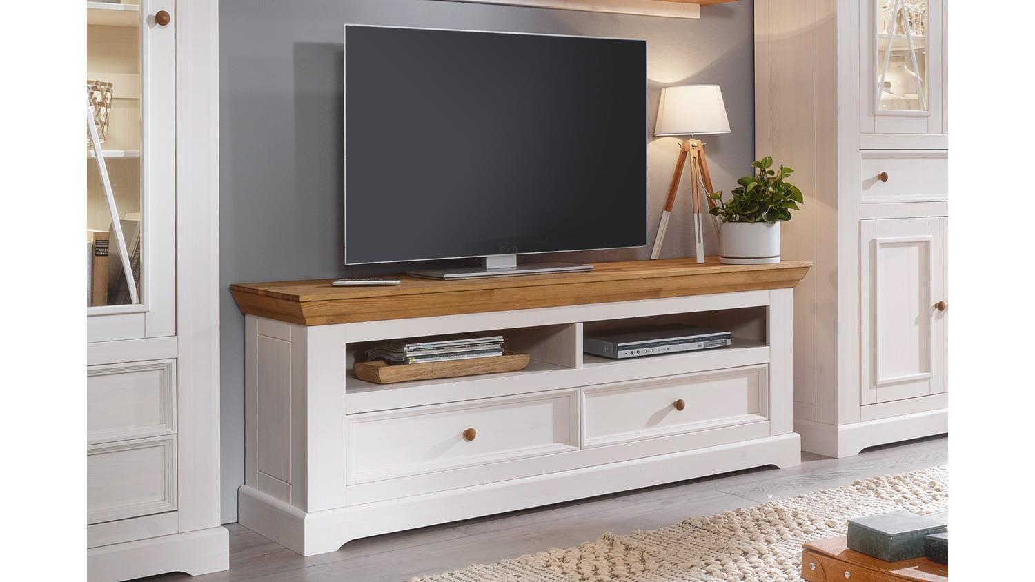 lowboard 2 glora tv board kiefer massiv wei gewachst eiche landhaus. Black Bedroom Furniture Sets. Home Design Ideas