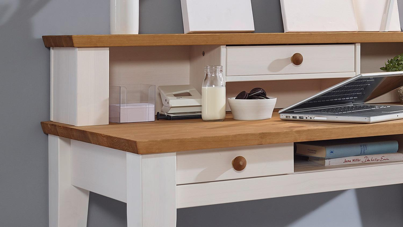 Schreibtisch GLORA Tisch Kiefer massiv weiß gewachst Eiche Landhaus