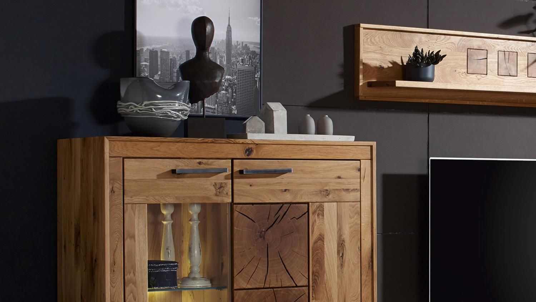 wohnwand gaja anbauwand wildeiche massiv natur ge lt mit hirnholz. Black Bedroom Furniture Sets. Home Design Ideas