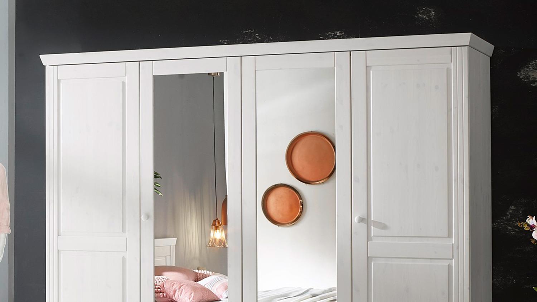 Schlafzimmerschrank Landhausstil.Kleiderschrank Genia Schrank Kiefer Massiv Weiß Gewachst