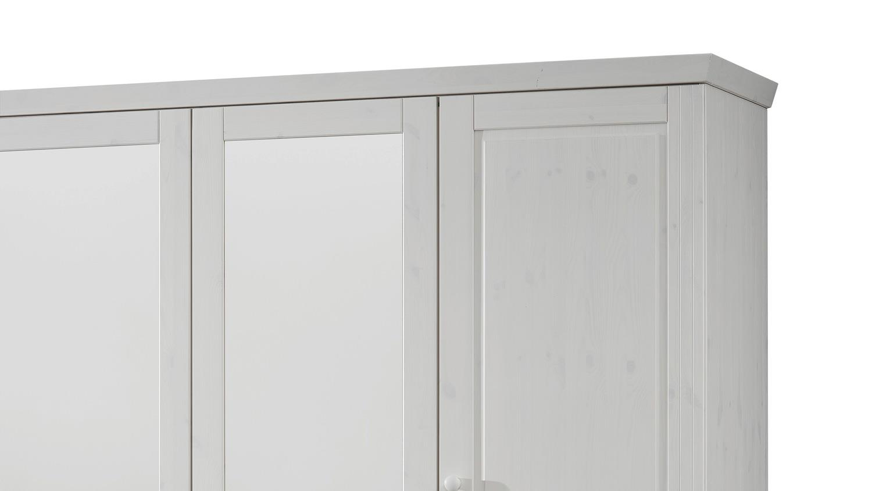 Kleiderschrank GENIA Schrank Kiefer massiv weiß gewachst Landhausstil