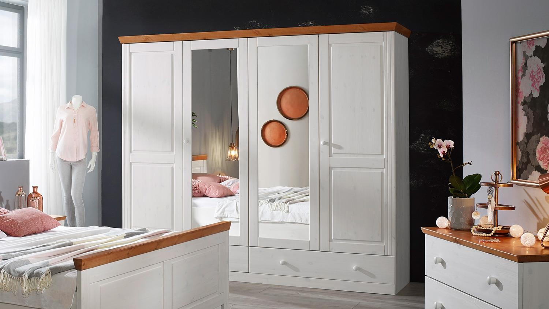 landhausstil kleiderschrank mit spiegel genia kiefer massiv wei honig. Black Bedroom Furniture Sets. Home Design Ideas