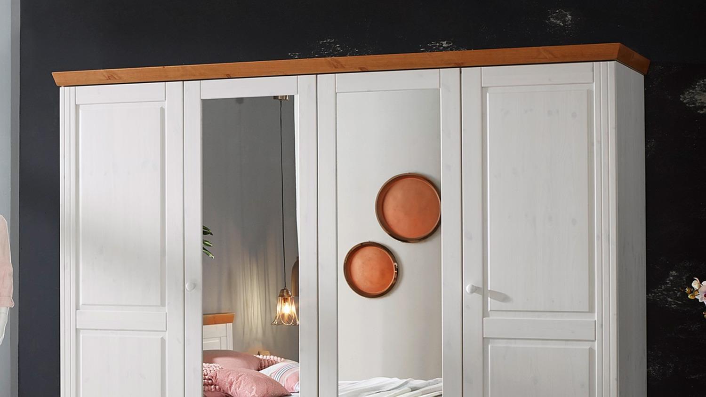 kleiderschrank genia in kiefer massiv wei gewachst honig. Black Bedroom Furniture Sets. Home Design Ideas