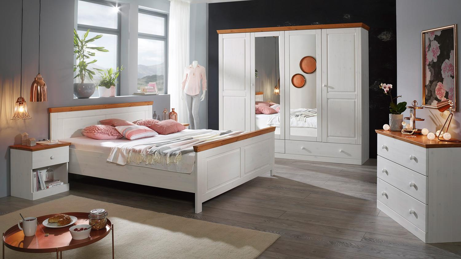 bettgestell genia kiefer massiv wei und honig 180x200 cm landhausstil. Black Bedroom Furniture Sets. Home Design Ideas