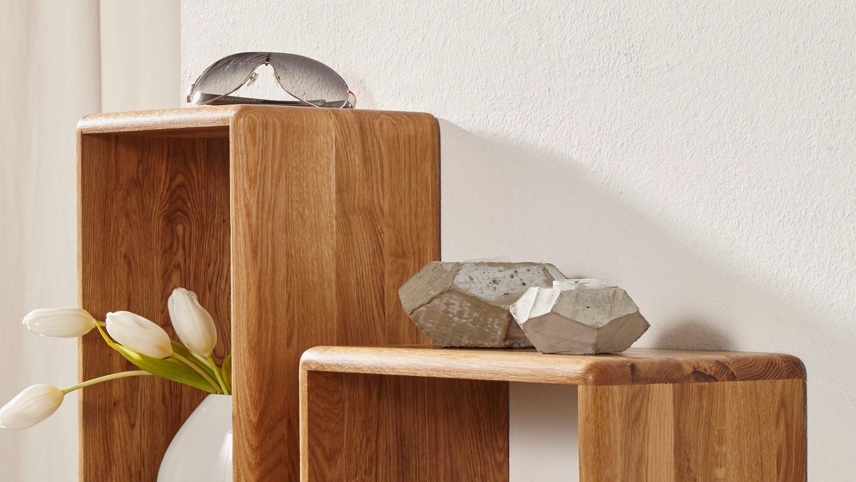 wandregal gilga 3er set regal h ngeregal in wildeiche massiv ge lt. Black Bedroom Furniture Sets. Home Design Ideas