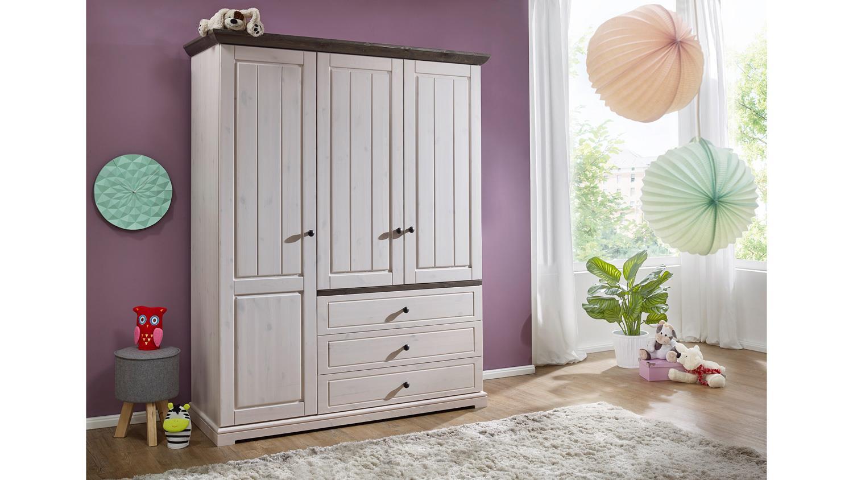 kleiderschrank jolina kiefer massiv wei grau soft close landhausstil. Black Bedroom Furniture Sets. Home Design Ideas