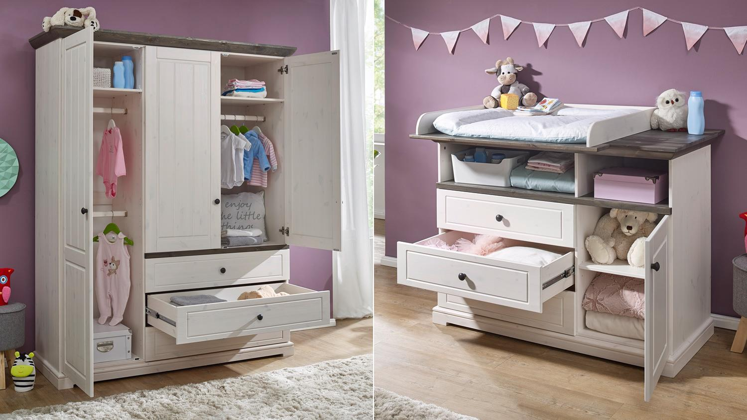 babyzimmer jolina in kiefer massiv wei und grau 3 teilig landhausstil. Black Bedroom Furniture Sets. Home Design Ideas
