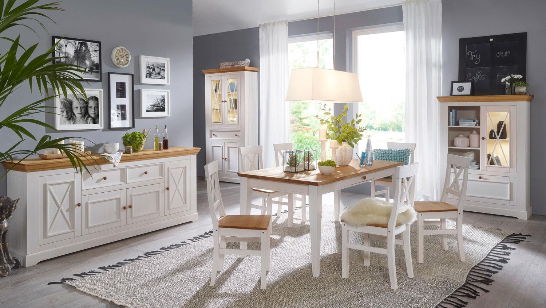 essgruppe landhaus glora kiefer massiv wei gewachst. Black Bedroom Furniture Sets. Home Design Ideas