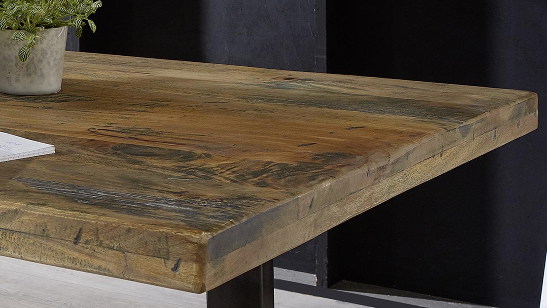 Esstisch GINGO Mangoholz rustikal Tisch Eisen grau 180x90 cm