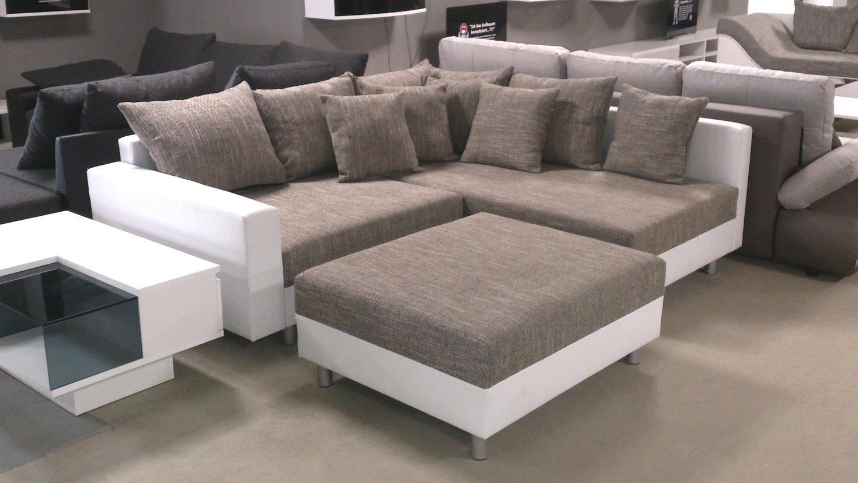 ecksofa claudia graubeige und wei mit hocker ottomane rechts. Black Bedroom Furniture Sets. Home Design Ideas