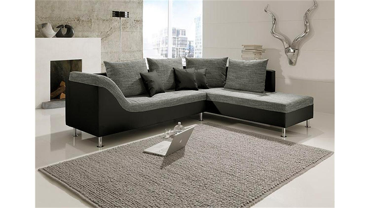 ecksofa philip schwarz und grauem stoff mit ottomane rechts. Black Bedroom Furniture Sets. Home Design Ideas