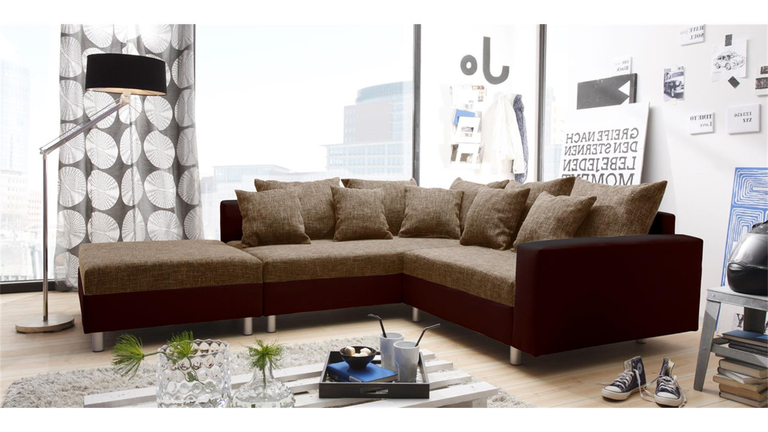 Ecksofa claudia mit hocker braun ottomane links for Ecksofa ottomane