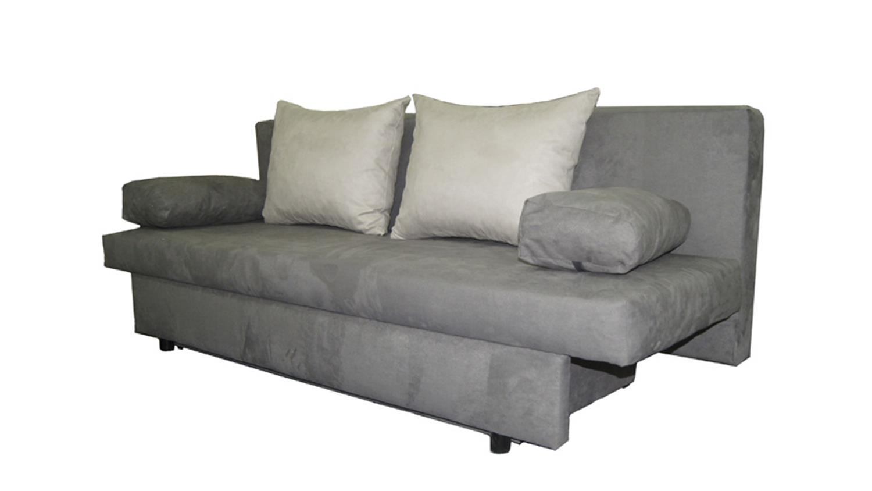 schlafsofa speed grau hellgrau mit kissen und bettkasten. Black Bedroom Furniture Sets. Home Design Ideas