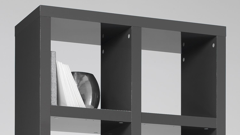 cd dvd regal st nder aufbewahrung chart in graphit grau mit 10 f chern f r bis zu 160 cds 20. Black Bedroom Furniture Sets. Home Design Ideas