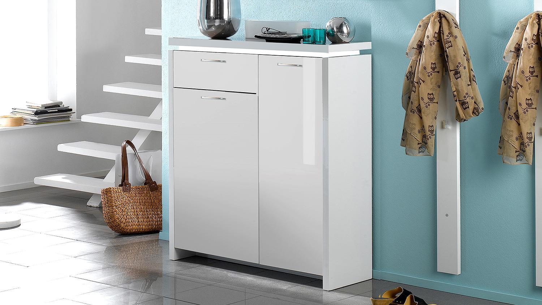 schuhschrank tracer wei hochglanz lackiert inkl led. Black Bedroom Furniture Sets. Home Design Ideas