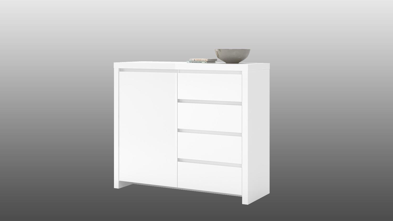 kommode lario anrichte in wei hochglanz lackiert. Black Bedroom Furniture Sets. Home Design Ideas