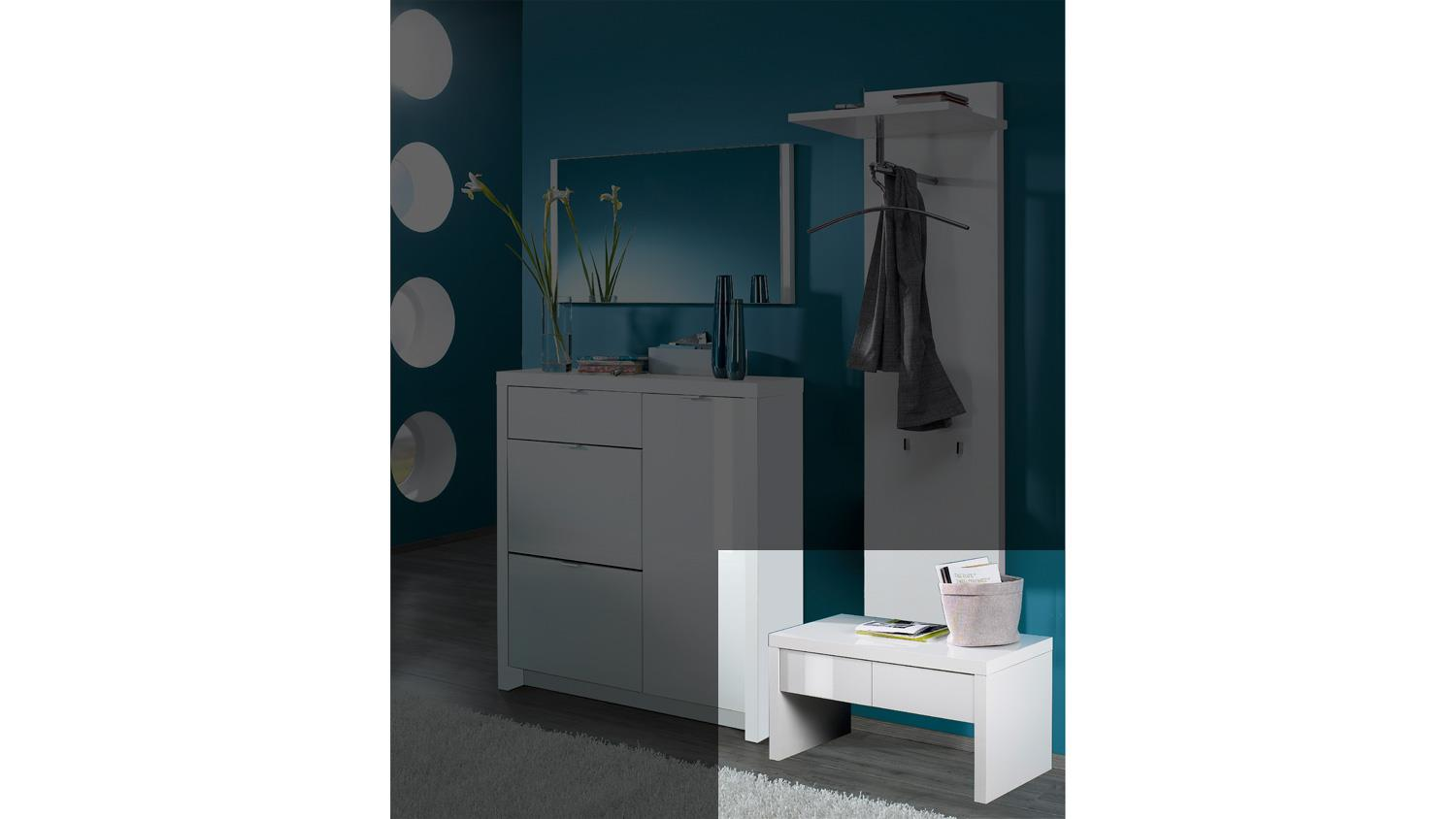 bank tonic garderobenbank garderobe in wei hochglanz lack. Black Bedroom Furniture Sets. Home Design Ideas