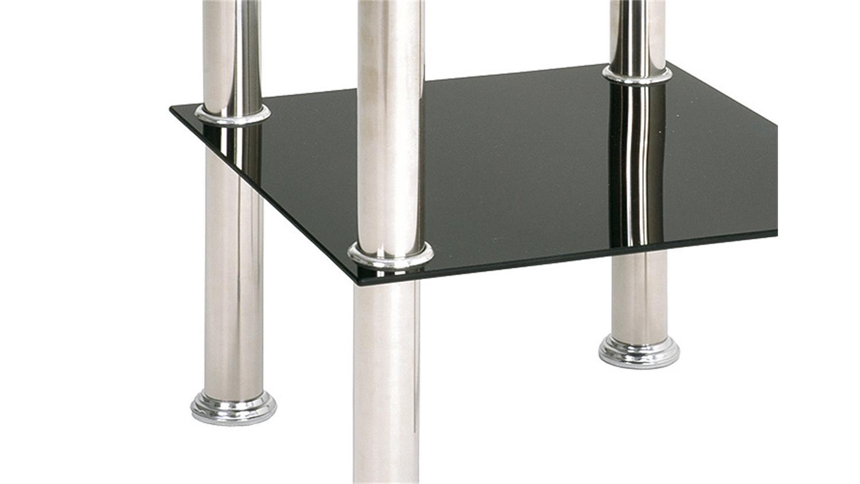 beistelltisch 33510 glas schwarz lack und edelstahl. Black Bedroom Furniture Sets. Home Design Ideas