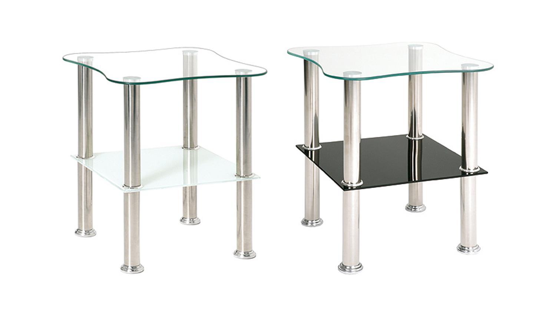 Beistelltisch 33510 glas schwarz lack und edelstahl for Beistelltisch glas edelstahl