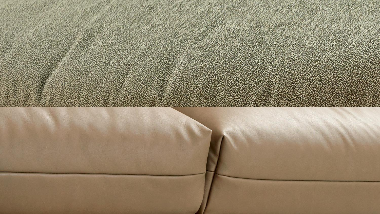 Polstermöbel leder oder stoff  Hülsta-Sofa 4-Sitzer 414 Leder beige inkl. Kissen Stoff grün 220 cm