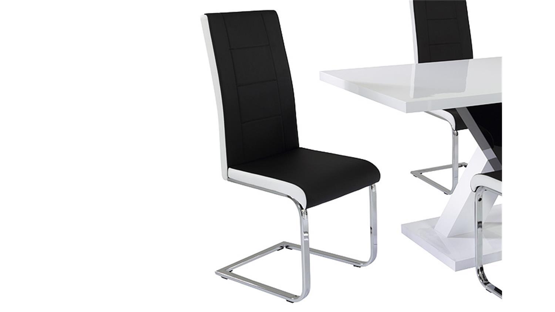 stuhl jane 4er set schwarz und wei gestell verchromt. Black Bedroom Furniture Sets. Home Design Ideas