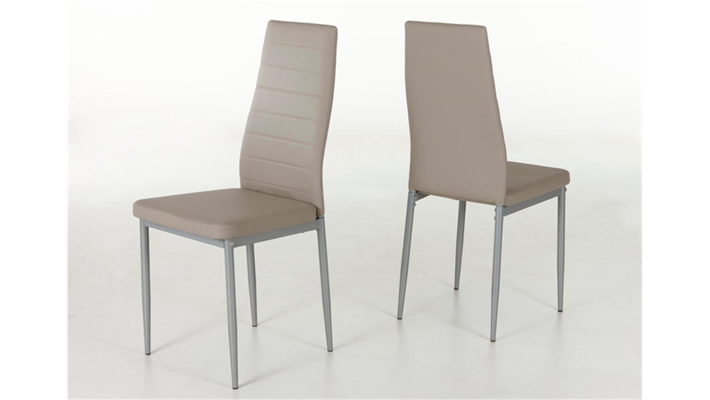 4er set stuhl simone cappuccino gestell alufarben. Black Bedroom Furniture Sets. Home Design Ideas