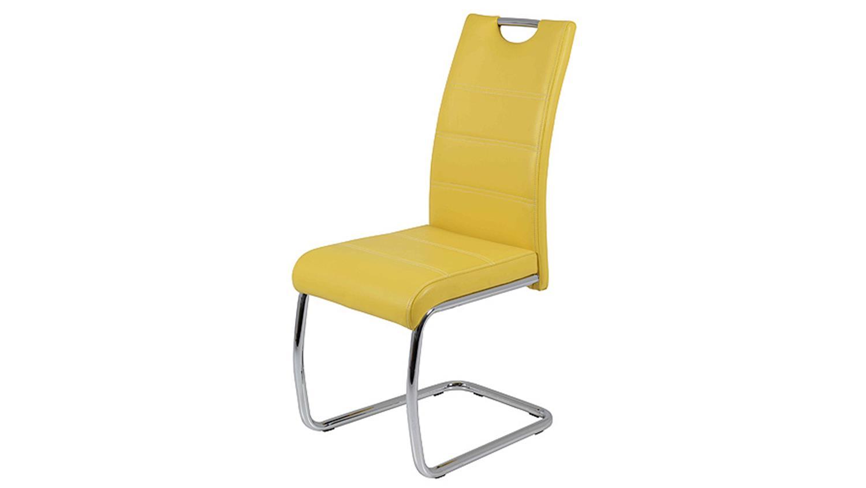 schwingstuhl flora 4er set in gelb naht wei chrom. Black Bedroom Furniture Sets. Home Design Ideas
