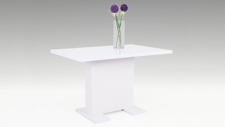 tisch julie esstisch mit s ule lack wei ausziehbar 120 160. Black Bedroom Furniture Sets. Home Design Ideas