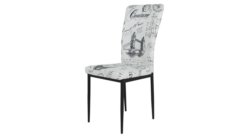 Stuhl times 4er set esszimmer stuhl stoff bedruckt beige for Stuhl schwarz esszimmer