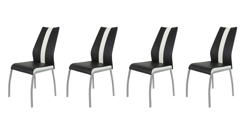 Stuhl Set TRIXI 4 Esszimmerstühle Lederlook Schwarz Weiß