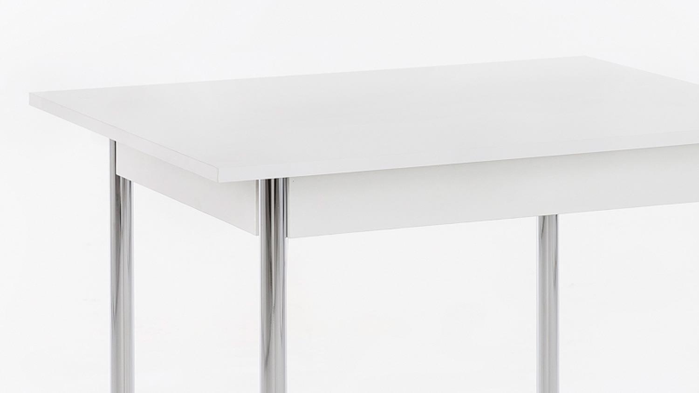 Esstisch KÖLN 1 Küchentisch in weiß und Chrom 90x65