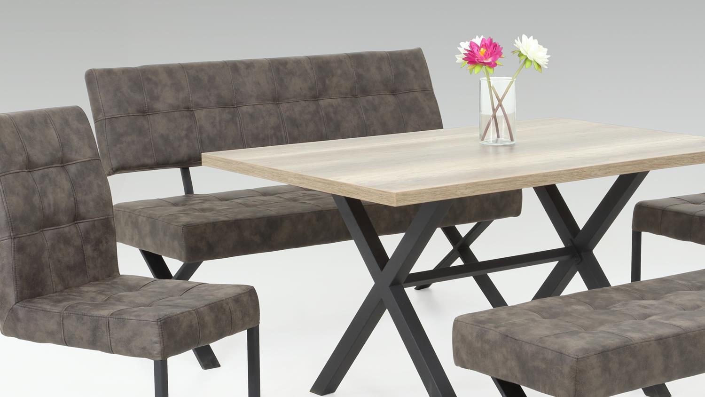 bank denna sitzbank in vintage braun und metall anthrazit. Black Bedroom Furniture Sets. Home Design Ideas