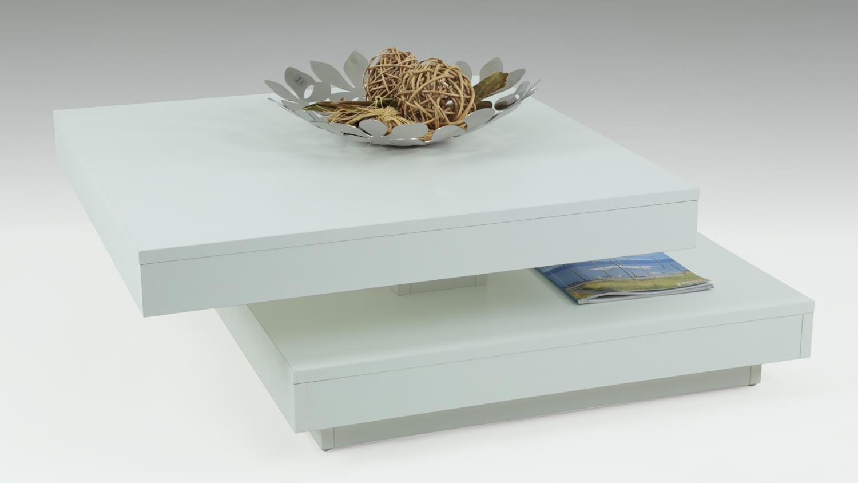 Couchtisch BEN in weiß Tisch Platte 360° drehbar