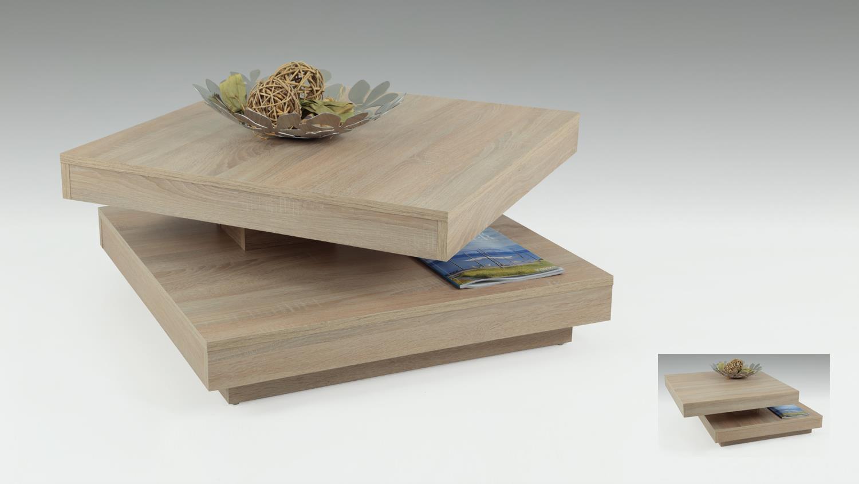 Couchtisch BEN in Sonoma Eiche Tisch Platte 360° drehbar