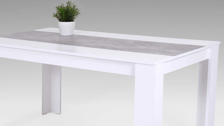 K chentisch esstisch lilo esszimmertisch wei betonoptik 140x80 cm - Esszimmertisch betonoptik ...