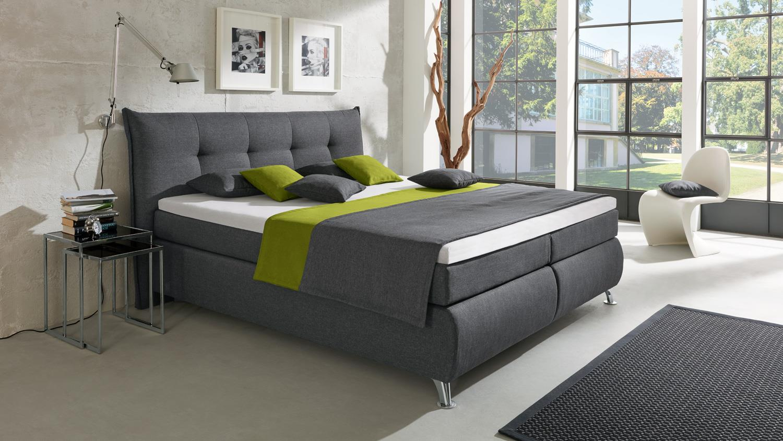 boxspringbett lexos hotelbett stoff anthrazit 7 zonen ttfk 180x200 cm. Black Bedroom Furniture Sets. Home Design Ideas