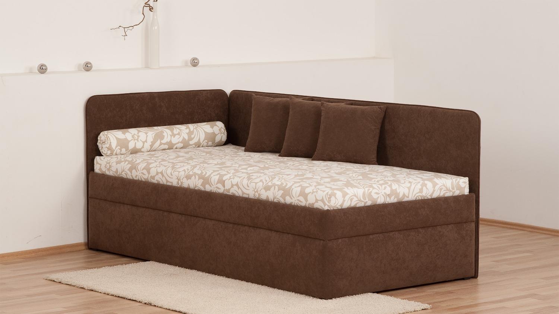 polsterliege sentino braun beige bonell federkern bettkasten 90x200 cm. Black Bedroom Furniture Sets. Home Design Ideas