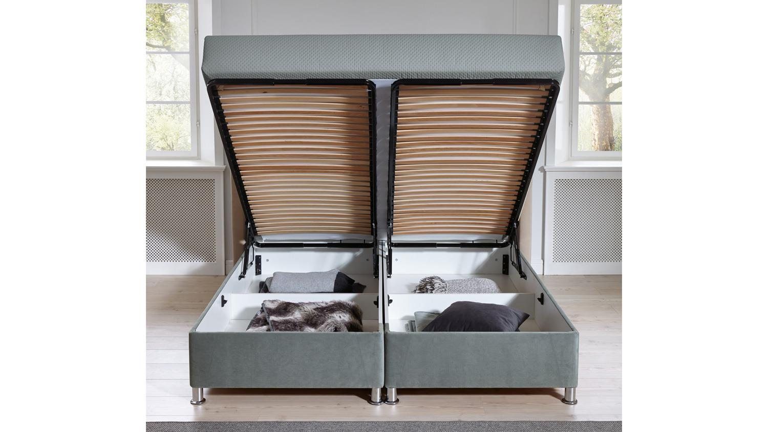 box komfortbett diamond polsterbett stoff grau bettkasten 180x200 cm. Black Bedroom Furniture Sets. Home Design Ideas