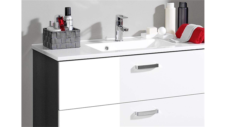 waschtisch bologna 90 badm bel graphit grau wei hochglanz. Black Bedroom Furniture Sets. Home Design Ideas