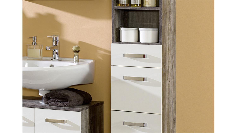 Badezimmer set 2 capri eiche vintage wei inkl led 5 tlg - Badezimmer spiegelschrank vintage ...