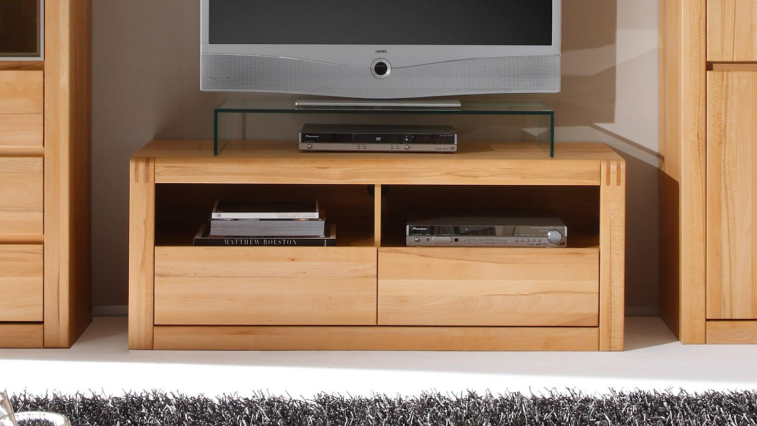 tv board ponto lowboard in kernbuche teilmassiv 128 cm. Black Bedroom Furniture Sets. Home Design Ideas